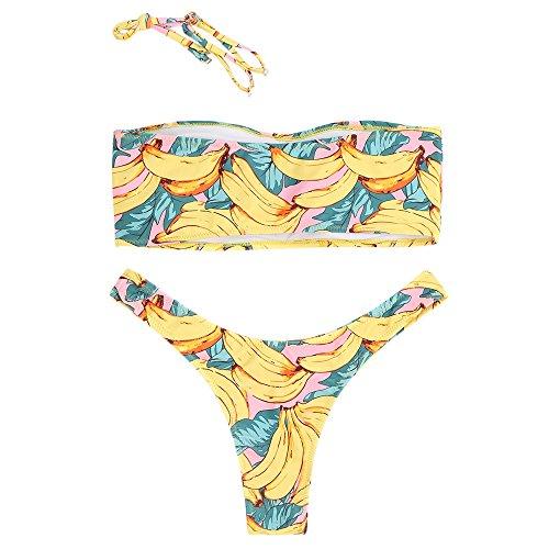 Banana Costume Donna Pezzi da Estiva ZAFUL a di con Bagno Stampa Due Alte Moda Bikini Gambe Imbottito qR1RTgtw