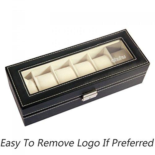 Ohuhu Watch Organizer, 6 Slot Watch Box PU Leather Watches Storage Case Lock Key by Ohuhu (Image #1)