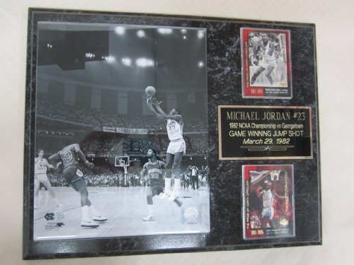 Michael Jordan Tarheels 2 Card Collector Plaque w/8x10 Photo 1982 Game Winning Shot!!