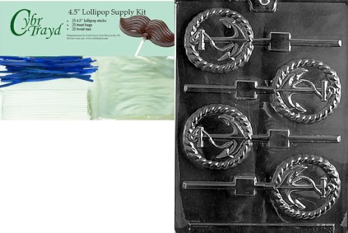Cybrtrayd 45StK25B-N028 Anchor Lolly Nautical Chocolate Candy Mold with Lollipop Supply Bundle, Includes 25 Lollipop Sticks, 25 Cello Bags, 25 Blue Twist Ties, Instructions