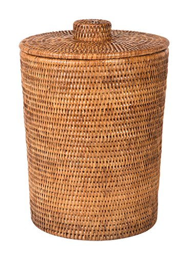 Kouboo La Jolla Rattan Round Plastic Insert & Lid, Large, Honey-Brown for Bedroom, Living Room and Bathroom Basket for Dry and Organic Waste (Rattan Brown Baskets)