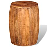 vidaXL Solid Rough Mango Wood Drum Stool Hocker Chair Home Living Room Decor
