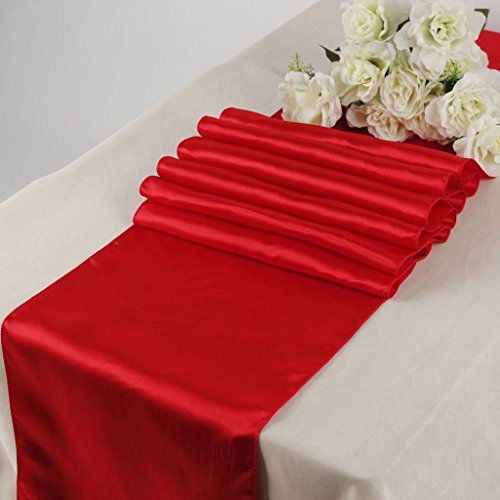 KING 10 Satin 12 x 108 inch Table Runner Banquet Wedding Party & Event -Red ()