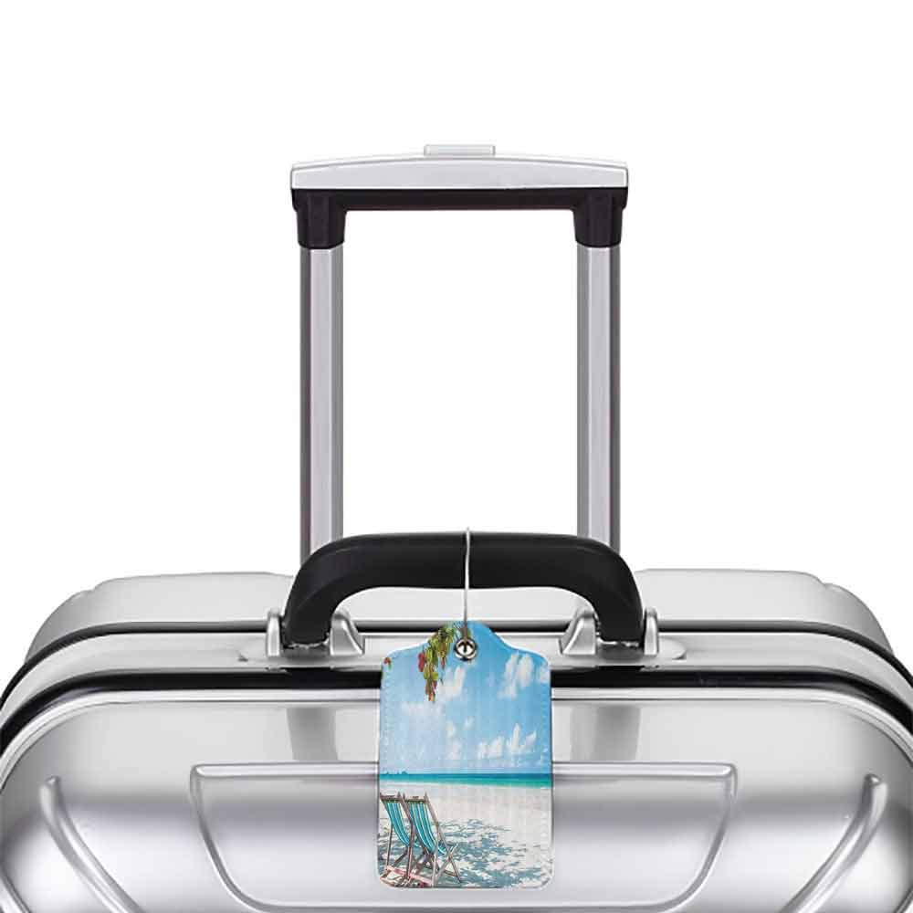 Modern luggage tag Seaside Decor Collection Beach Chairs under Tree Shade Tourist Resort Seascape Picture Suitable for children and adults Turquoise Blue Ivory W2.7 x L4.6