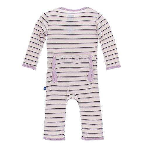 KicKee Pants Little Girls Print Coverall with Zipper - Girl Parisian Stripe, 12-18 Months