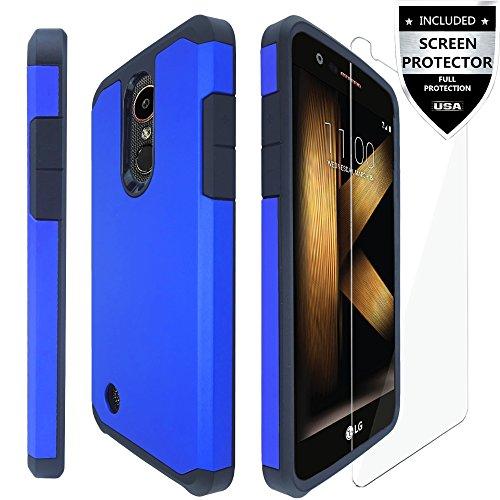 Blue Case Protector Cover (LG K20 Plus Case/LG K20 V Case/LG K20 Case/LG Harmony Case/LG Grace Case With Screen Protector,IDEA LINE(TM) Hybrid Hard Shockproof Slim Fit Cover - Blue)
