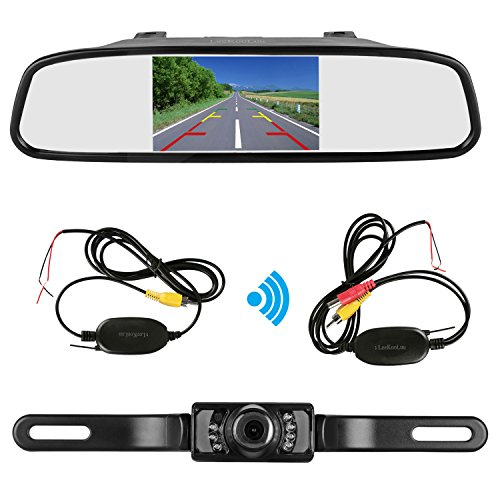 LeeKooLuu Wireless Backup Camera and Mirror Monitor Kit 9V-24V Rear view camera Parking system Waterproof Universal Night Vision for Car/Vehicle/Truck/Van/Caravan/Camper LKL-18