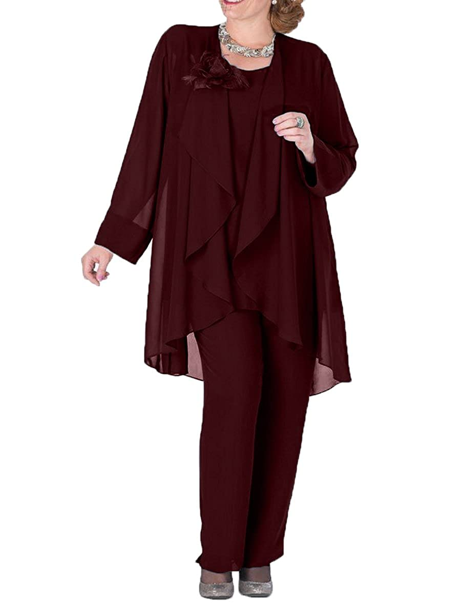 Burgundy The Peachess 3 Pieces Mother Pantsuits with Jacket Plus Size Formal Outfits