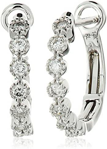14k White Gold Diamond Hoop Earrings (1/4cttw, I-J Color, I2-I3 Clarity)