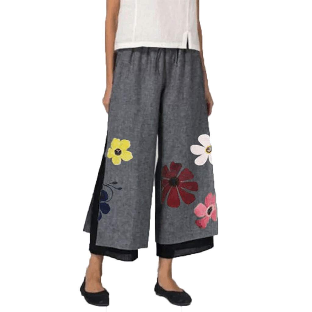 Armfre Bottom Women's Wide Leg Pants Floral Print Mesh Lined Palazzo Pants Stretch Split Loose Flowing Cropped Trouser for Casual Yoga Activewear Plus Size by Armfre Bottom