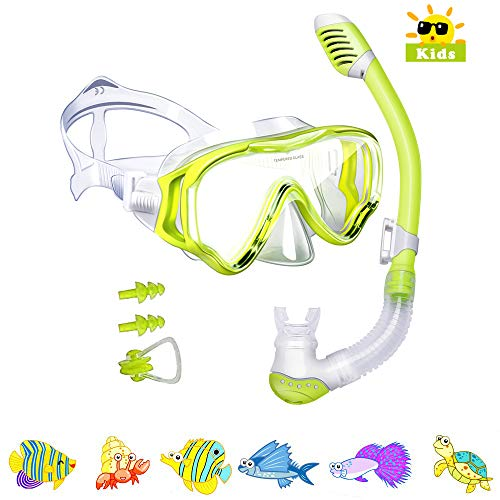 Kids Snorkel Set-Powsure Dry Top Seaview Snorkel Mask for Children, Boys, Girls,Youth, Big Eyes Anti-Fog Coated Glass Snorkeling Mask, Easybreath with Silicon Mouth Piece for Swimming, Diving (Yellow) ()