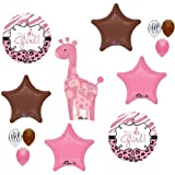 GIRAFFE Girl SAFARI Jungle BROWN Pink BABY Shower (13) Mylar BALLOONS Kit SET
