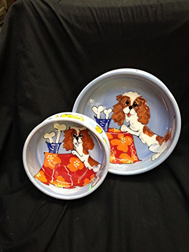 Cavalier King Charles Spaniel Two Piece 8'' Ceramic Dog Bowl Set for Food and Water by Faux Paw Productions, Inc.