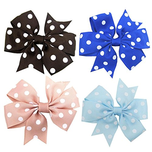DIGOOD 4Pcs Girls Hair Clips Dot Bowknot Hair Buckle Bowknot Hairpin Headband Party Headwear (D)