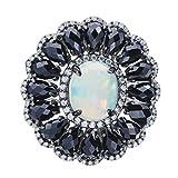 Rarities Carol Brodie Womens 925 Sterling Silver Ring Ethiopian Opal, Black Spinel and White Zircon Gemstone in White Rhodium.