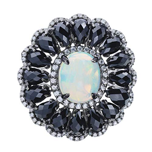 Rarities Carol Brodie Womens 925 Sterling Silver Ring Ethiopian Opal, Black Spinel and White Zircon Gemstone in White Rhodium. (6)