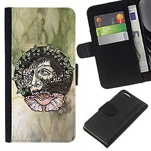 KLONGSHOP // Tirón de la caja Cartera de cuero con ranuras para tarjetas - Guirnalda del pelo de la mujer del arte floral de la acuarela - Apple Iphone 5C //