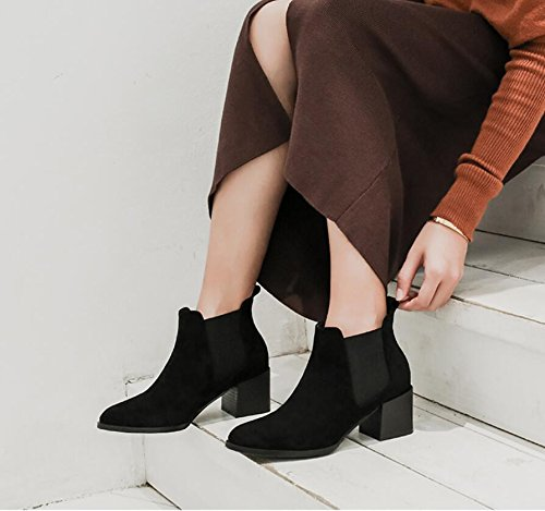 KHSKX-Black 5.5Cm Round Head Solid Color Thick With Short Boots Women And Versatile Elastic Band And Bare Boots Women'S Shoes 34 hxowmbhFg
