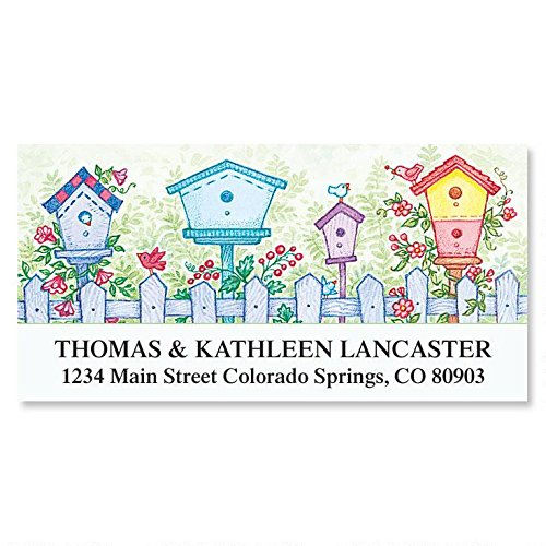 (Garden Birdhouses Self-Adhesive, Flat-Sheet Deluxe Address Labels)