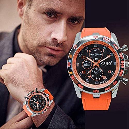 Fashion Clearance Watch! Noopvan Men's Analog Sports Watch Military Wrist Quartz Watch Large Dual Dial Digital Outdoor Watches,Mens Watches on Sale (Orange) by Noopvan Strap (Image #1)