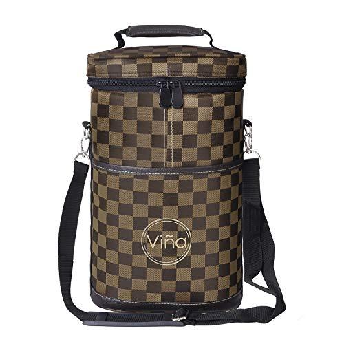 (Vina 2 Bottle Wine Tote Bag, Insulated Wine or Beer Cooler Carrier Case with Shoulder Strap + Free Corkscrew, Brown Grid Wine Gift Bag for Travel and Picnic, Black)