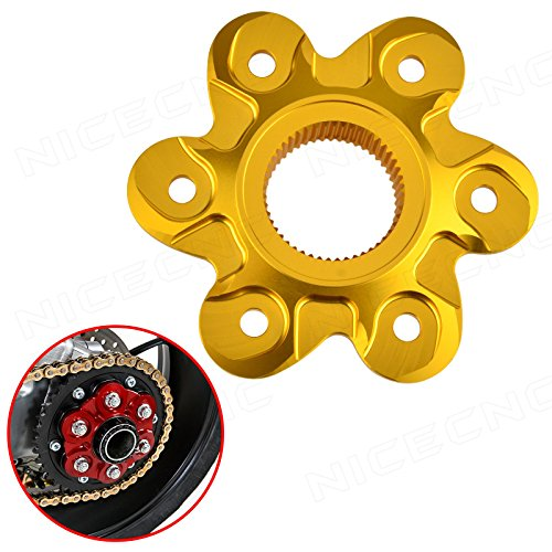 NICECNC Gold Rear Sprocket Drive Flange Cover Replace Ducati DIAVEL 1200 2010-2018,MONSTER 1200/1200 S 2014-2018,1200 R 2016-2018,STREETFIGHTER 1098/1098 S 2009-2014