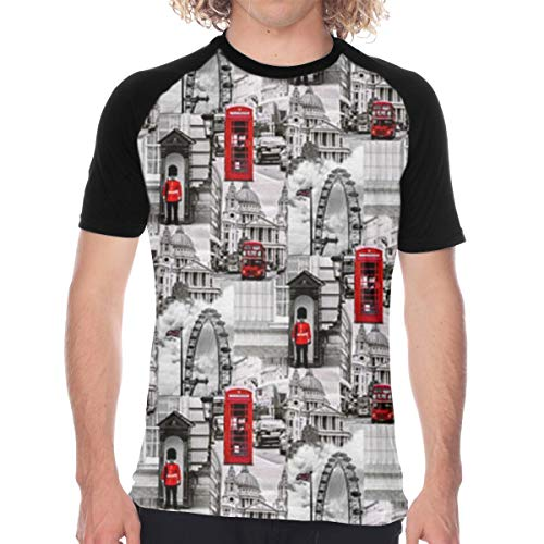 MAGICAI London Black White Red UK Britain Men's Short Sleeve T-Shirt
