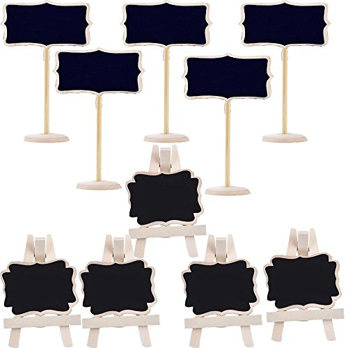 BA-SAFE 5 pack Mini Framed Chalkboard Place Cards with Easel and 5 Pack Mini Rectangle Chalkboards Black Board with Stand for Weddings and Parties ,Message Board Signs or other special (Party Supplies)