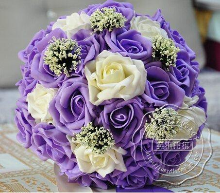 Blue/purple Handmade Artificial Rose Wedding Bouquet of Flowers for Bride Bridal Bouquet (purple)