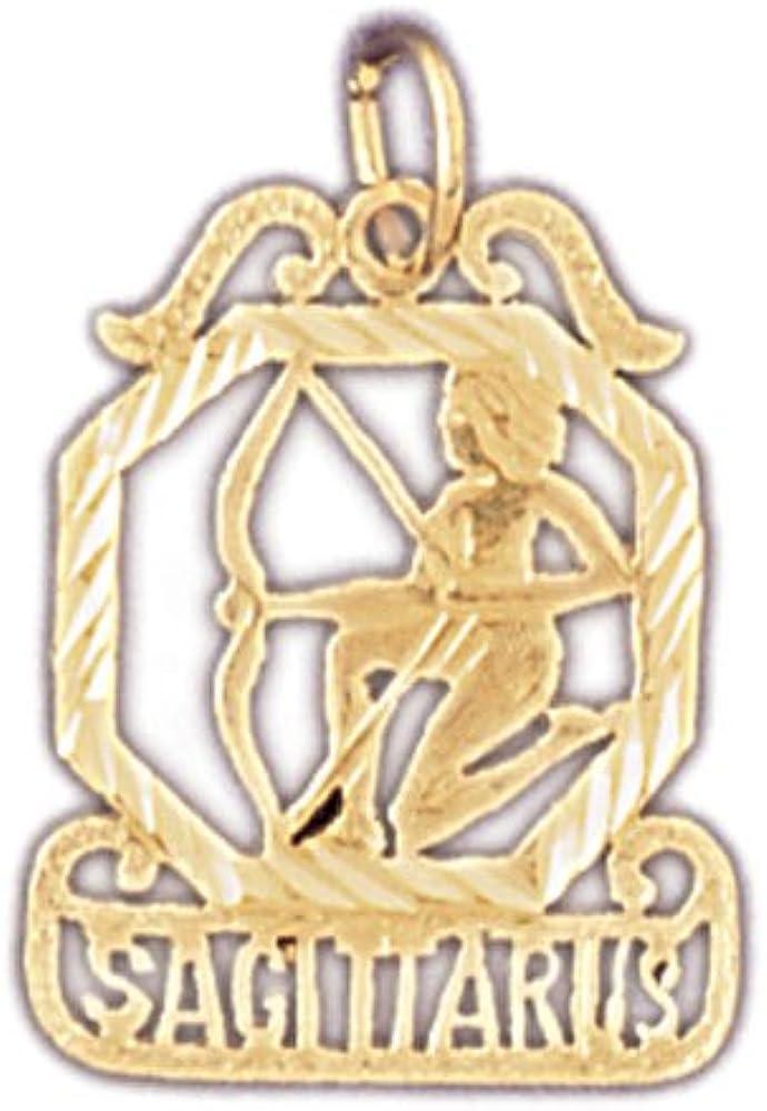 14K Yellow Gold Zodiac Sagittarius Pendant on an Adjustable 14K Yellow Gold Chain Necklace