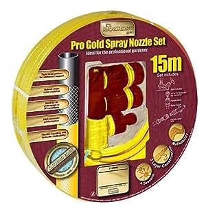 Nuevo 15m Pro dorado Spray boquilla Set amarillo agua reforzada tubo de al aire libre jardín
