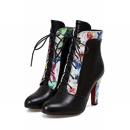 Carolbar Womens Plus Size Lace Up Pointed Toe Zip Floral Printed Dress Boots Black VbQR3ONv
