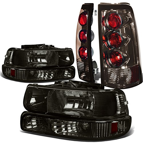 Headlights Amber Corner Lights (Chevy Silverado GMT800 4pc Pair of Smoked Lens Amber Corner Headlight + Smoked Lens Altezza Style Tail Light)