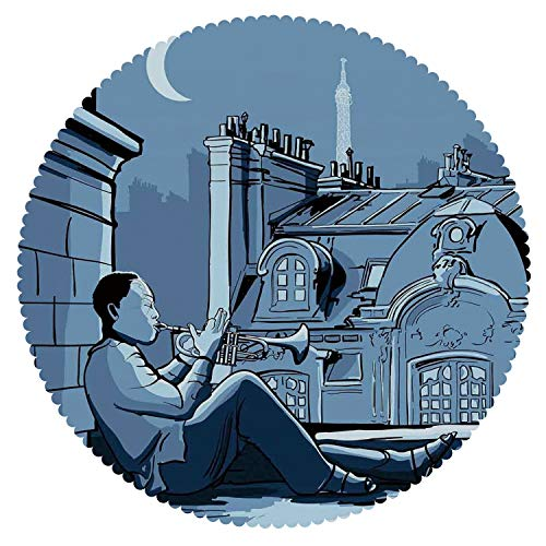 blecloth [ Jazz Music Decor,Trumpet Player on a Roof in Paris at Night Eiffel Moon Europe Illustration Decor,Black Dark Blue ] Home Accessories Set ()