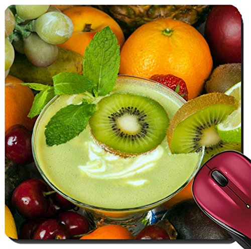 Liili Suqare Mousepad 8x8 Inch Mouse Pads/Mat Kiwi smoothie surrounded by an abundance of summer fruits IMAGE ID (Abundance Fruit)