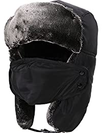 Men/Women's Winter Faux Fur Trim Full Coverage Trapper Trooper Hat w/Face Cover