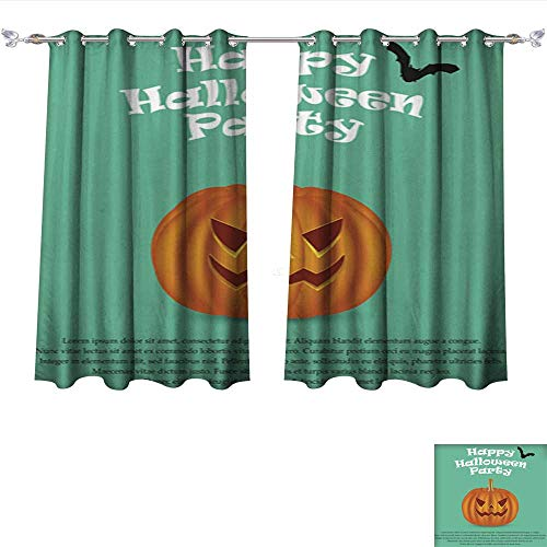 DragonBui Thermal Insulating Blackout Curtain Wicked Pumpkin for Halloween Jack Lantern2 Pocket Insulated Tie Up Curtains W63 x -