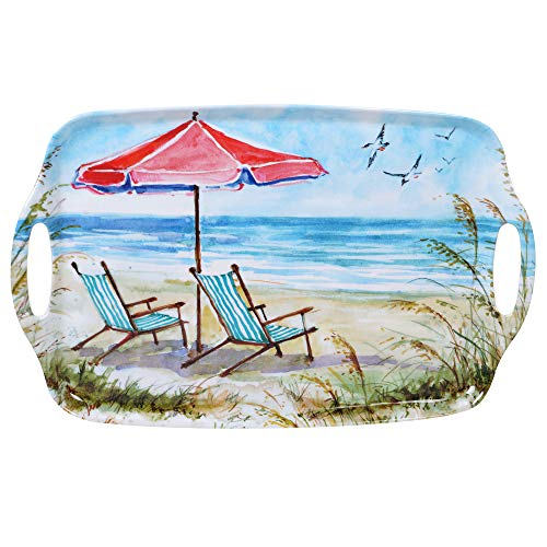 View Small Rectangular Tray - Certified International 27404 Ocean View Rectangular Tray with Handles 19