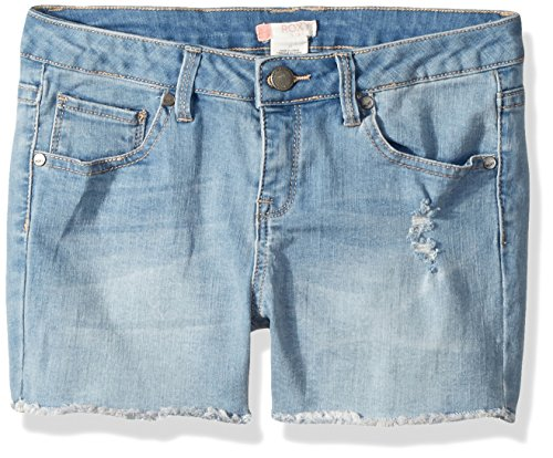 Roxy Girls' Big Denim Shorts, Light Blue, 10 ()