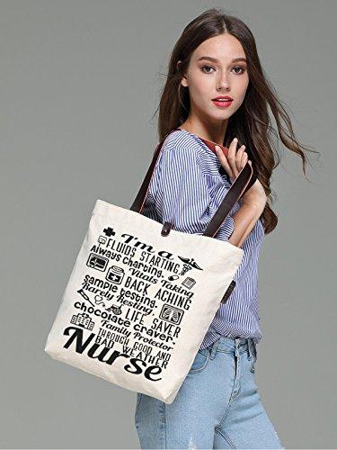 So'each Women's I'm A Nurse Letters Graphic Top Handle Canvas Tote Shoulder Bag