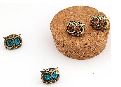 niceeshop(TM) Vintage Art Deco Owl Head Charm Stud Earring (2 Pairs,Random Color)