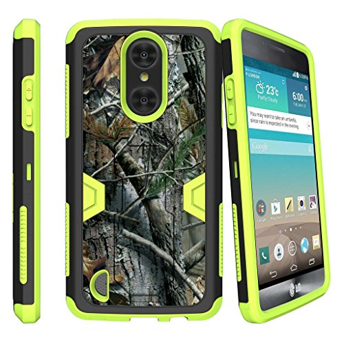 Rebel Hunter Shafts - MINITURTLE Case Compatible w/ LG Risio 2 Green Case| LG Rebel 2 Case| LG Aristo Case| LG K4 (2017)[MAX DEFENSE] Shockproof Green Silicone and Hard Exterior Stand Shell Clip Hunters Tree Camouflage