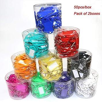 Toolstar Lot de 100 /étiquettes didentification pour cl/és en plastique avec anneaux pour porte-cl/és rose Rouge