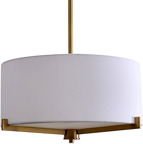 Catalina Lighting 19741-001 Traditional 3 Pendant Ceiling Light with Linen Shade, 19 , Brass