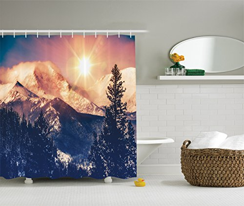 Ambesonne USA Nature Decor Collection, Mountains in Coloradao Bright Sun Snowy Hill View Print, Polyester Fabric Bathroom Shower
