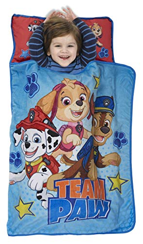 Image of the Paw Patrol Team Paw Toddler Nap Mat - Includes Pillow & Fleece Blanket - Great for Boys and Girls Napping at Daycare, Preschool, Or Kindergarten - Fits Sleeping Toddlers and Young Children
