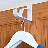 "Hangerworld 7"" Plastic Strong Over the Door Hooks for Coats / Clothes / Towels, Pack of 2, White"