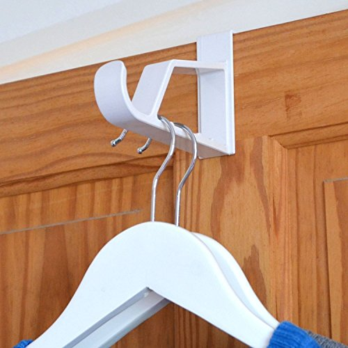(HANGERWORLD 2 White 7inch Plastic Space Saving Over Door Hooks Storage Towels Coat Clothes)