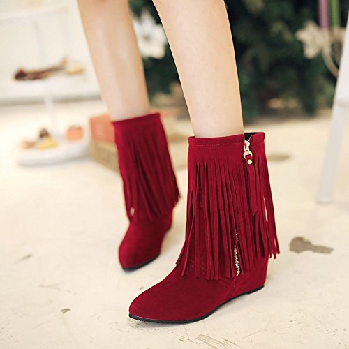 Carolbar Womens Pointed Toe Tassels Zipper Fashion Sexy Wedge Heel Dress Boots Deep Red qFf3CF