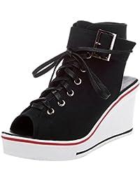 Women's Canvas High-Heeled Platform Wedge Fashion Sneaker...